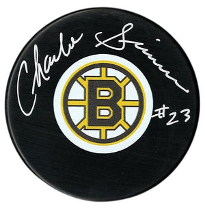 Charlie Simmer Autographed Boston Bruins Puck