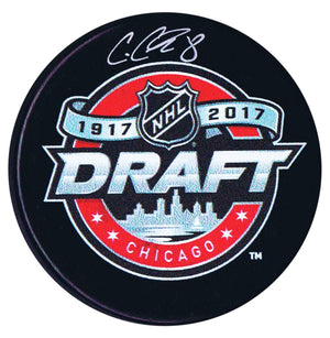 Cody Glass Vegas Golden Knights Autographed 2017 Draft Puck - CoJo Sport Collectables Inc.