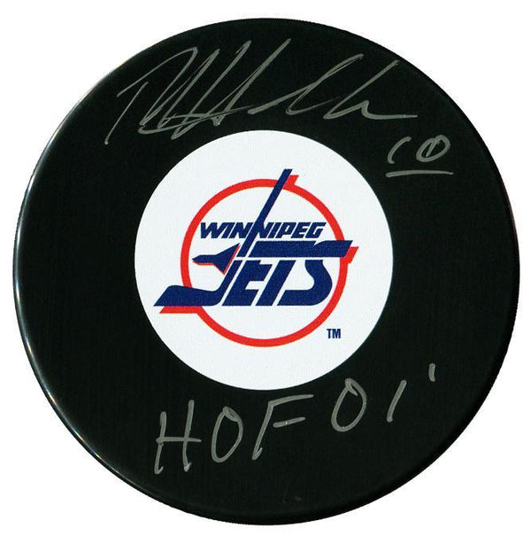 Dale Hawerchuk Autographed Winnipeg Jets HOF Puck - CoJo Sport Collectables Inc.