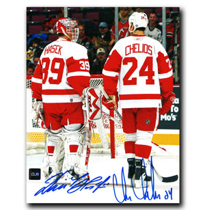 Dominik Hasek and Chris Chelios Detroit Red Wings Dual Autographed 8x10 Photo - CoJo Sport Collectables Inc.