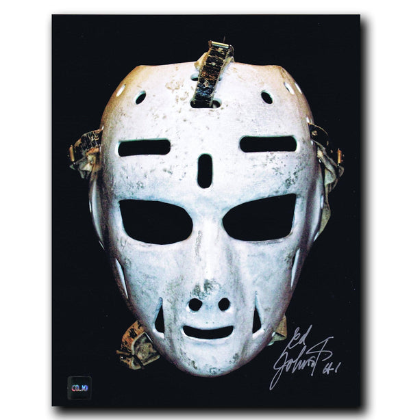 Ed Johnston Boston Bruins Autographed Mask 8x10 Photo - CoJo Sport Collectables Inc.