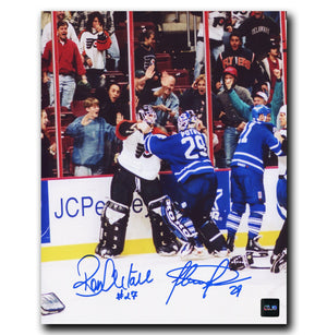 Felix Potvin and Ron Hextall Dual Autographed Fight 8x10 Photo