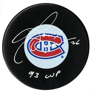 Gary Leeman Autographed Montreal Canadiens 93 Cup Puck - CoJo Sport Collectables Inc.