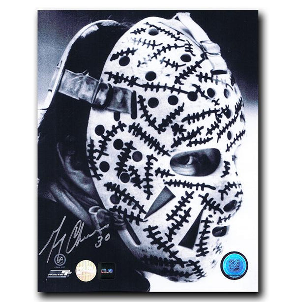Gerry Cheevers Boston Bruins Autographed Mask 8x10 Photo - CoJo Sport Collectables Inc.