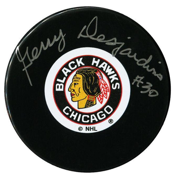 Gerry Desjardins Autographed Chicago Blackhawks Puck Autographed Hockey Pucks CoJo Sport Collectables