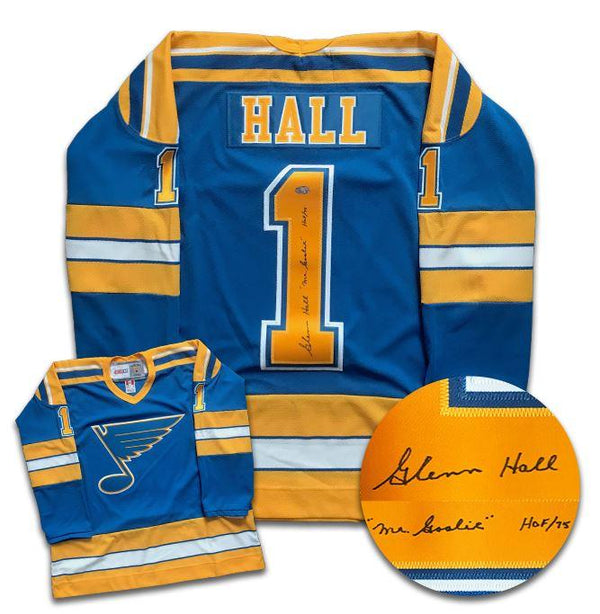 Glenn Hall St. Louis Blues Autographed CCM Jersey - CoJo Sport Collectables Inc.