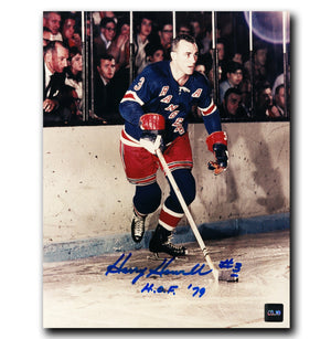Harry Howell New York Rangers Autographed Behind Net 8x10 Photo - CoJo Sport Collectables Inc.