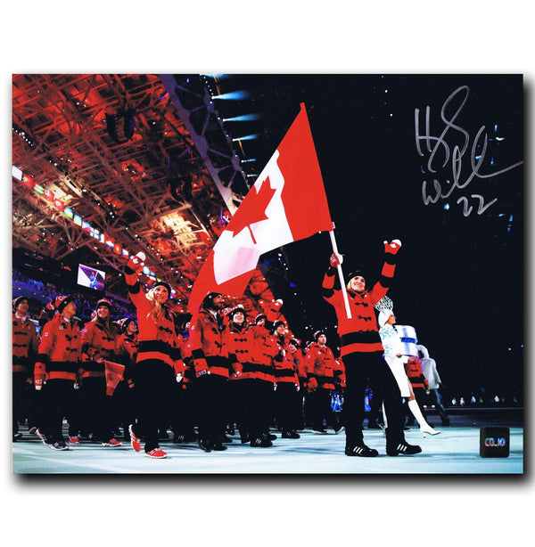 Hayley Wickenheiser Team Canada Autographed 8x10 Flag Photo - CoJo Sport Collectables Inc.