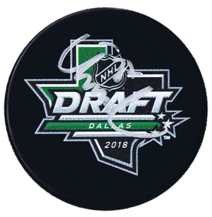 Isac Lundestrom Anaheim Ducks Autographed 2018 NHL Draft Puck - CoJo Sport Collectables Inc.