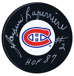 Jacques Laperriere Autographed Montreal Canadiens HOF Puck - CoJo Sport Collectables Inc.