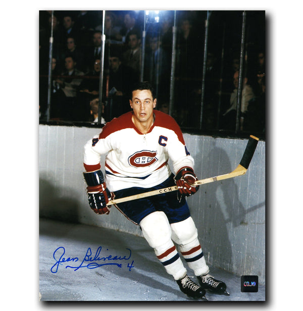 Jean Beliveau Montreal Canadiens Autographed Action 8x10 Photo - CoJo Sport Collectables Inc.