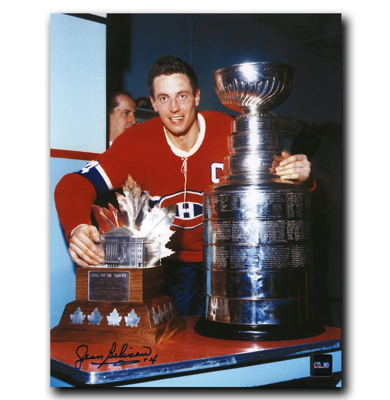 Jean Beliveau Montreal Canadiens Autographed Stanley Cup and Conn Smythe 8x10 Photo CoJo Sport Collectables Inc.