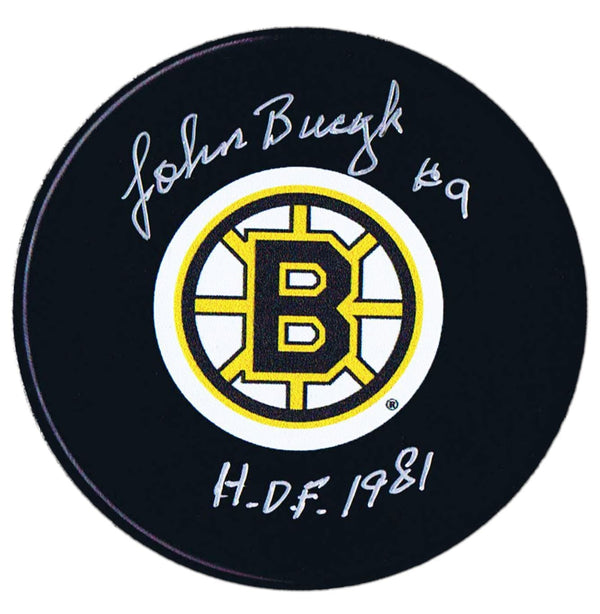 John Bucyk Autographed Boston Bruins HOF Puck - CoJo Sport Collectables Inc.