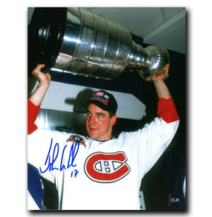 John Leclair Montreal Canadiens Autographed Stanley Cup 8x10 Photo