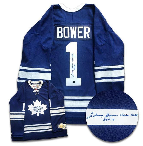 reputable site 9441d d74ee Johnny Bower Toronto Maple Leafs Autographed CCM Jersey