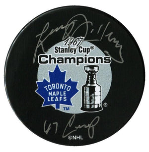 Larry Jeffrey Toronto Maple Leafs Autographed 1967 Stanley Cup Champions Inscribed Puck Autographed Hockey Pucks CoJo Sport Collectables