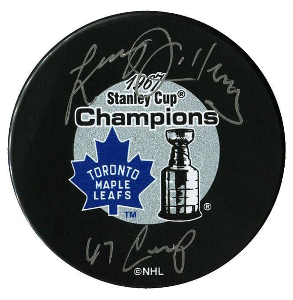 Larry Jeffrey Toronto Maple Leafs Autographed 1967 Stanley Cup Champions Inscribed Puck - CoJo Sport Collectables Inc.