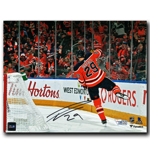 Leon Draisaitl Edmonton Oilers Autographed Celebration 8x10 Photo
