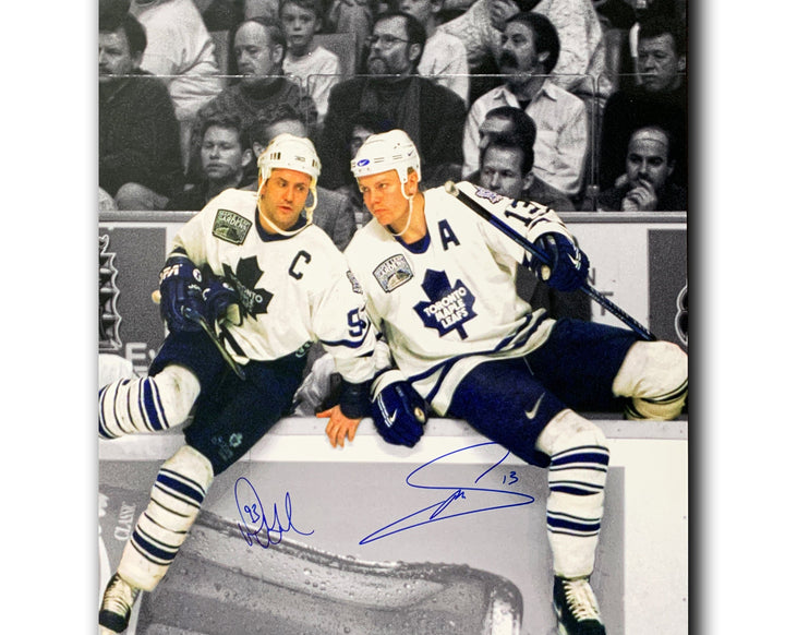Mats Sundin and Doug Gilmour Toronto Maple Leafs Dual Autographed Jumping Boards 16x20 Photo - CoJo Sport Collectables Inc.