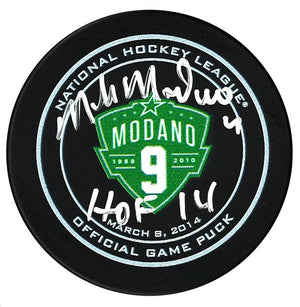 Mike Modano Dallas Stars Autographed Retirement Night Official Game Puck