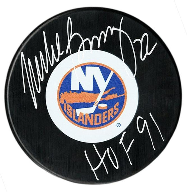Mike Bossy Autographed New York Islanders HOF Puck - CoJo Sport Collectables Inc.