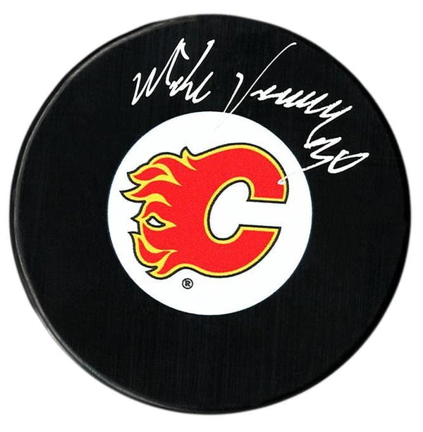 Mike Vernon Autographed Calgary Flames Puck - CoJo Sport Collectables Inc.