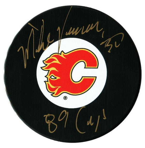 Mike Vernon Autographed Calgary Flames Stanley Cup Puck - CoJo Sport Collectables Inc.