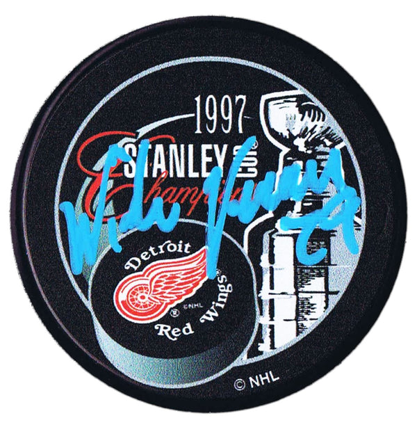 Mike Vernon Detroit Red Wings Autographed 1997 Stanley Cup Champions Puck - CoJo Sport Collectables Inc.
