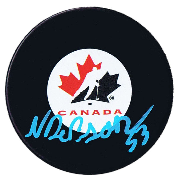 Noah Dobson New York Islanders Autographed Team Canada Puck - CoJo Sport Collectables Inc.