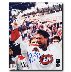 Patrick Roy Montreal Canadiens Autographed Stanley Cup 8x10 Photo