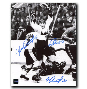 Paul Henderon, Yvan Cournoyer, Vladislav Tretiak 1972 Summit Series Autographed 8x10 Photo Autographed Hockey 8x10 Photos CoJo Sport Collectables