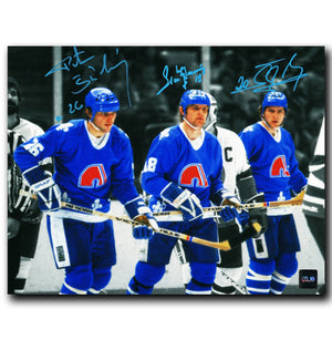 Peter Stastny, Marian Stastny, and Anton Stastny Quebec Nordiques Autographed Spotlight 8x10 Photo