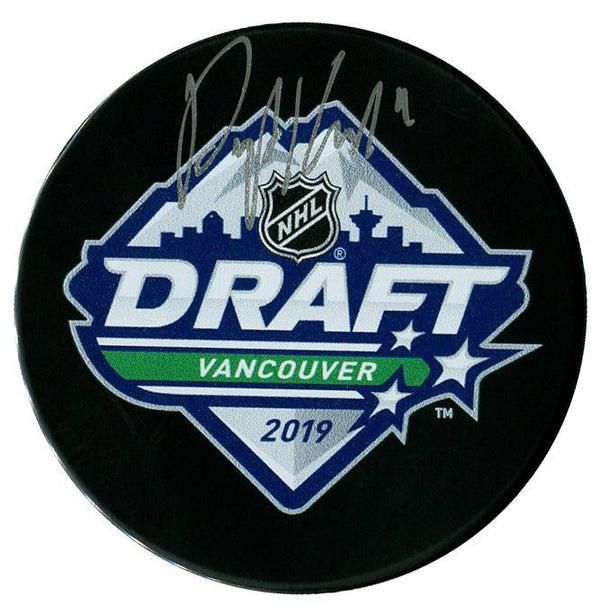 Peyton Krebs Vegas Golden Knights Autographed 2019 NHL Draft Puck Autographed Hockey Pucks CoJo Sport Collectables