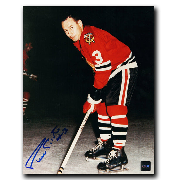 Pierre Pilote Chicago Blackhawks Autographed Leaning 8x10 Photo - CoJo Sport Collectables Inc.