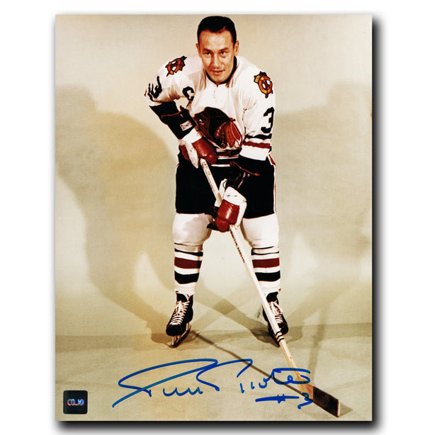 Pierre Pilote Chicago Blackhawks Autographed Pose 8x10 Photo - CoJo Sport Collectables Inc.