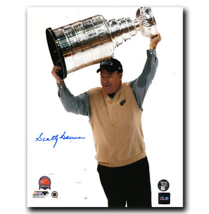 Scotty Bowman Detroit Red Wings Autographed Holding Stanley Cup 8x10 Photo - CoJo Sport Collectables Inc.