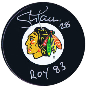 Steve Larmer Autographed Chicago Blackhawks ROY 83 Puck - CoJo Sport Collectables Inc.