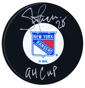 Steve Larmer Autographed New York Rangers 94 Cup Puck - CoJo Sport Collectables Inc.