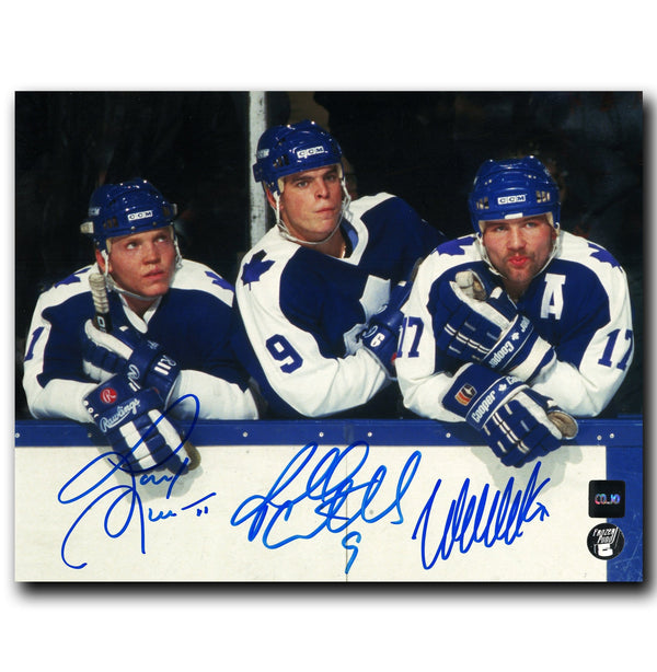 The Hound Line Toronto Maple Leafs Autographed Bench 8x10 Photo