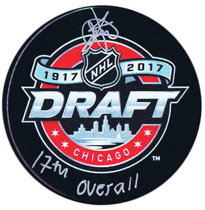 Timothy Liljegren Toronto Maple Leafs Autographed 2017 17th Overall Draft Puck Autographed Hockey Pucks CoJo Sport Collectables