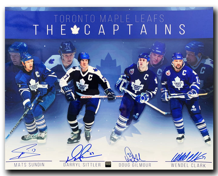 Toronto Maple Leafs Captains Autographed Limited Edition 16x20 Photo - Mats Sundin, Darryl Sittler, Doug Gilmour, and Wendel Clark - CoJo Sport Collectables Inc.
