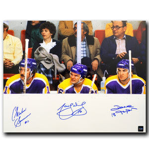 Triple Crown Line Los Angeles Kings Autographed 16x20 Bench Photo - CoJo Sport Collectables Inc.