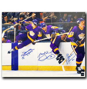 Triple Crown Line Los Angeles Kings Autographed 16x20 Jumping Boards Photo - CoJo Sport Collectables Inc.