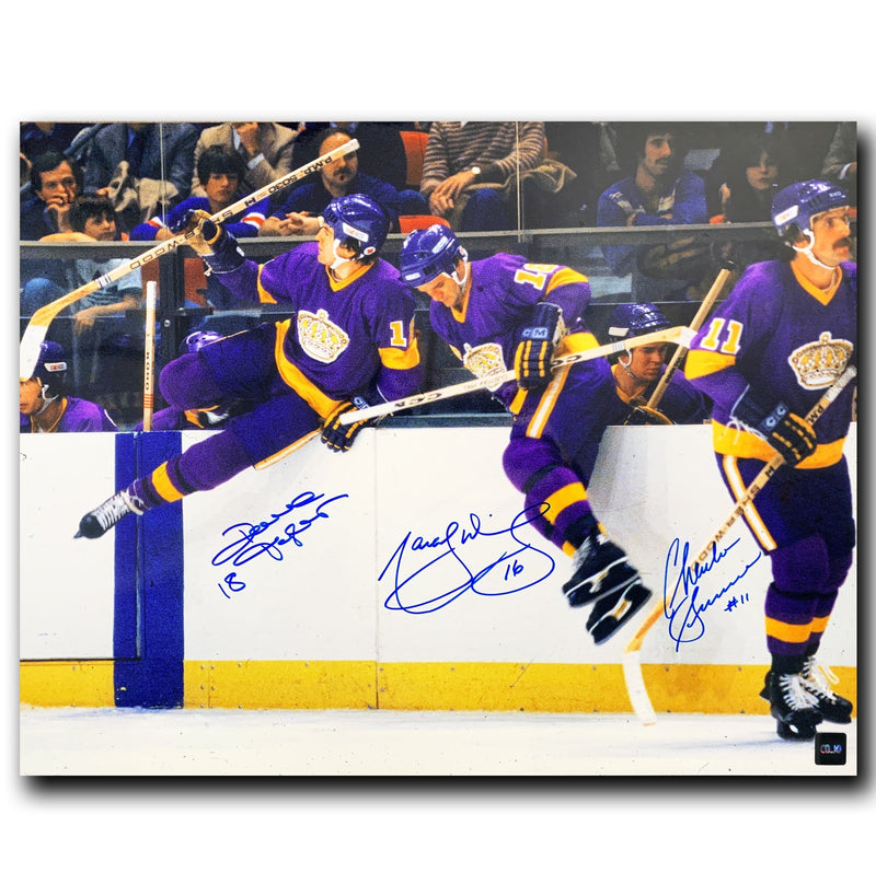 Triple Crown Line Los Angeles Kings Autographed 16x20 Jumping Boards Photo CoJo Sport Collectables Inc.