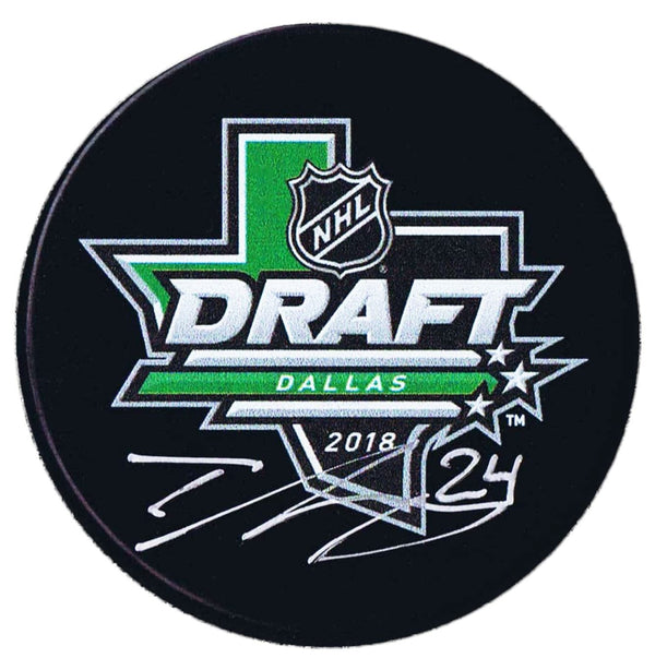 Ty Smith New Jersey Devils Autographed 2018 NHL Draft Puck - CoJo Sport Collectables Inc.