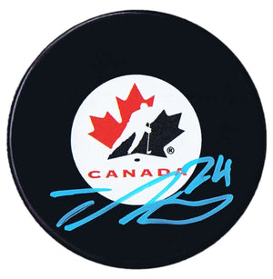 Ty Smith New Jersey Devils Autographed Team Canada Puck Autographed Hockey Pucks CoJo Sport Collectables
