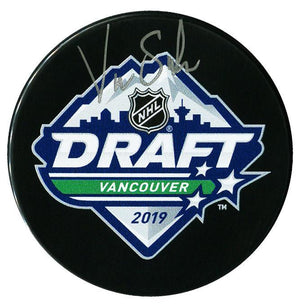 Victor Soderstrom Arizona Coyotes Autographed 2019 NHL Draft Puck Autographed Hockey Pucks CoJo Sport Collectables