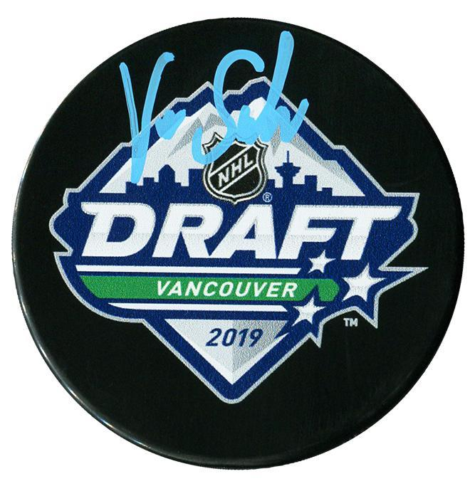 Victor Soderstrom Arizona Coyotes Autographed 2019 NHL Draft Puck - CoJo Sport Collectables Inc.