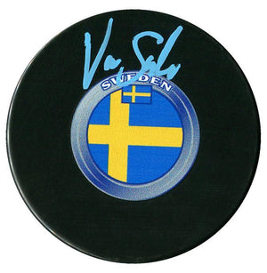 Victor Soderstrom Arizona Coyotes Autographed Team Sweden Puck Autographed Hockey Pucks CoJo Sport Collectables