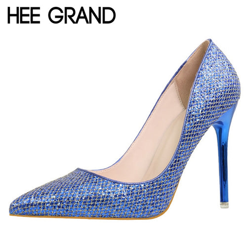 HEE GRAND Bling Glitter Pumps Platform Sexy Thin High Heels Slip On Women Shoes Pointed Toe Casual Wedding Shoes Woman WXG340 - Baby clothing, toys, shoes, mum & dad products